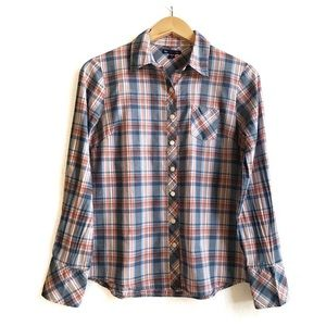 Gap Cotton Button Plaid Print Long Sleeve Shirt